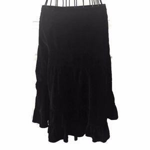 Anthropologie Odille Black Velvet Tiered Skirt